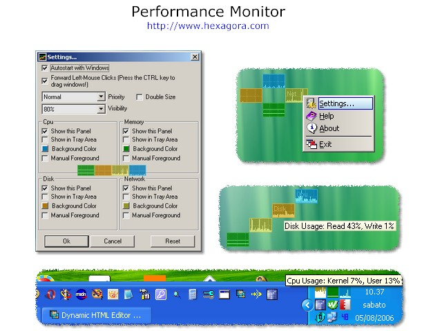 CPU, Memory, Disk and Network Monitor